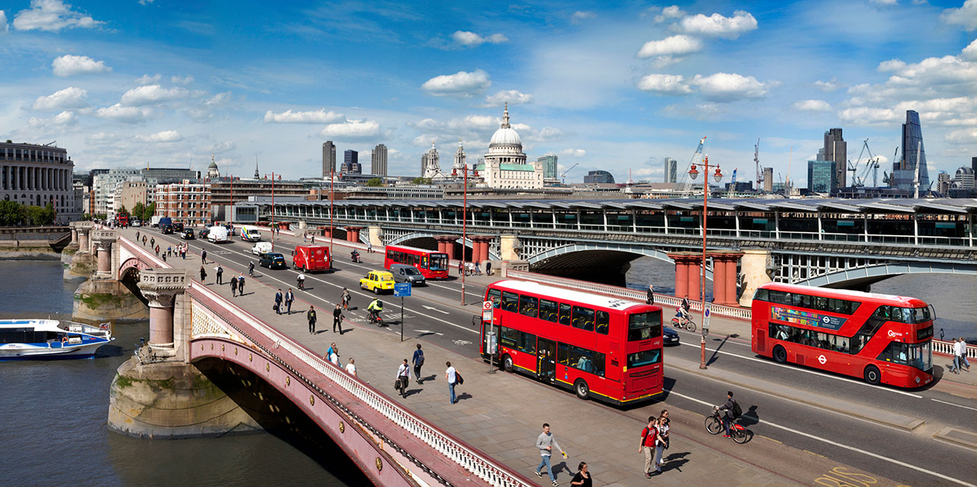 View from Blackfriars Bridge for the London Transport Museum